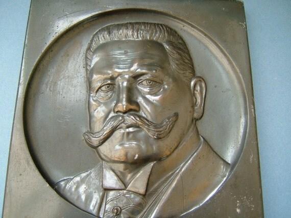 1930s Metal Plaque of German Reichsprasident Paul von Hindenburg - WWI Hero of the German Army