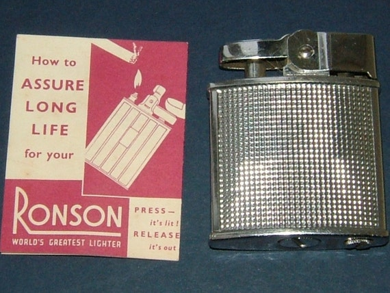 1950s Ronson Cadet C203 Pocket Lighter with Windshield Original Box and Warranty - PRISTINE