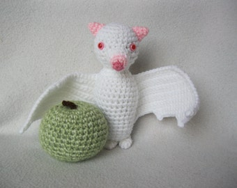 Crochet Albino Fruit Bat -Flying Fox -Amigurumi -Plush -Toy -with Green Apple-Imaginary Play -Decoration -Handmade MADE to ORDER CUSTOM