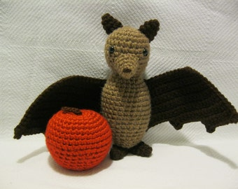 Crochet Fruit Bat -Flying Fox -Amigurumi -Plush -Soft -with Red Apple or Green Pear or Orange Pumpkin Fruit -Imaginary Play- MADE to ORDER