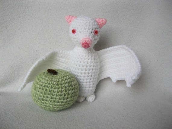 crochet albino fruit bat flying fox amigurumi plush toy