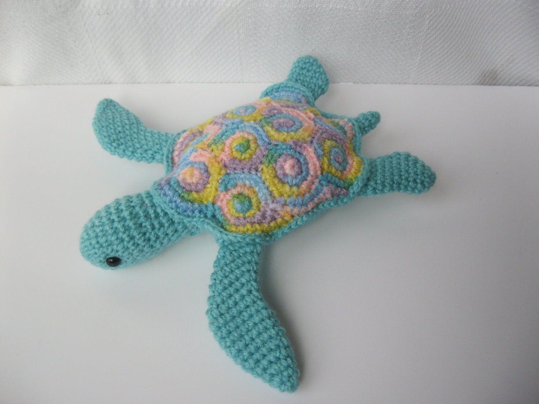 Crochet Realistic Amigurumi Sea Turtle Soft Plush Toy Ready To