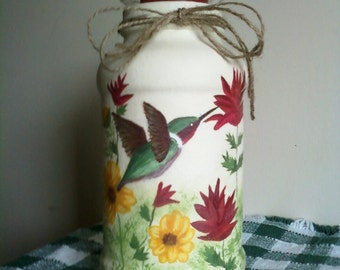 Handpainted Hummingbird Candle Jar