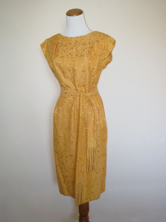 60's Vintage Cocktail Dress in Gold Yellow