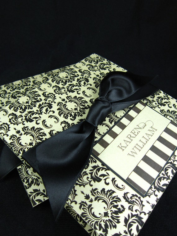 Elegant black & tan damask pocketfold invitation
