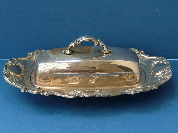 Vintage Art Deco 1930s Silverplate Butter Dish