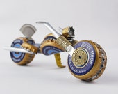 Blue Moon Redneck Chopper, purdy gift fer motorcycle 'n wheat beer lovers, made outta beer caps