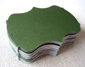 Olive green 2.5 inch bracket cards -- set of 36 -- journaling, scrapbooking, favor tags, wish tree, escort cards, gift tags