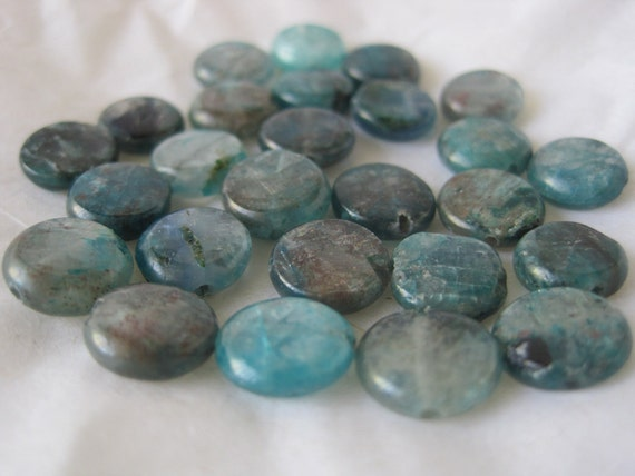 ON SALE Semi-precious blue quartz lentil beads -- 10mm -- 6 beads