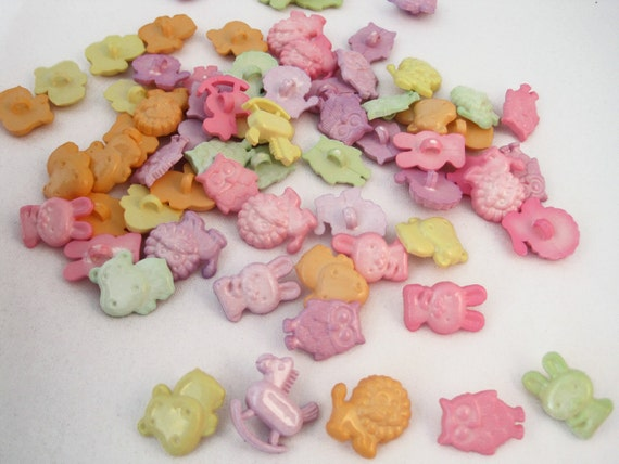 Novelty buttons -- pastel animals, baby, nursery -- lot of 68