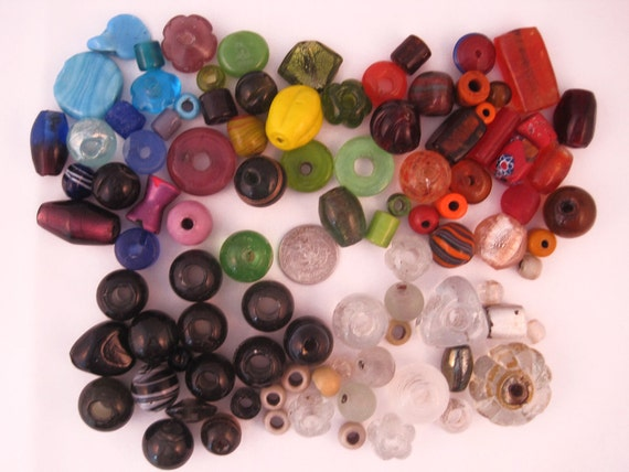 SALE -- Huge assorted lot of glass beads -- 106 beads