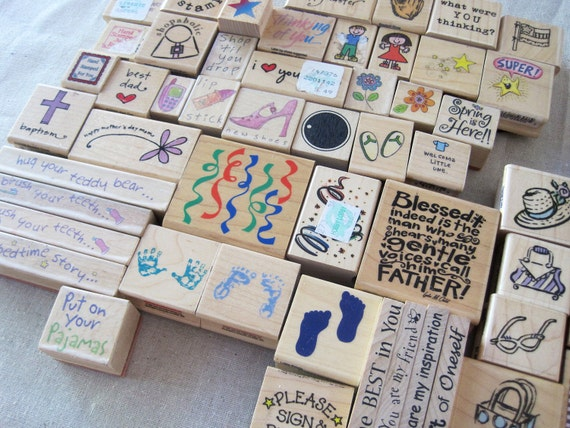 INSTANT COLLECTION -- HUGE lot of wood mounted rubber stamps -- more than 160 stamps