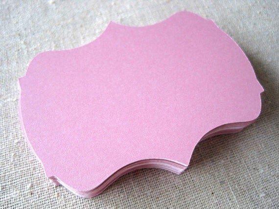 Light pink 2 inch bracket cards -- set of 24 -- journaling, scrapbooking, favor tags, wish tree, escort cards, gift tags