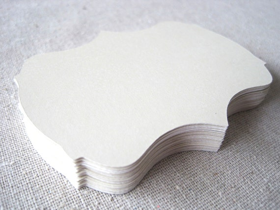 Ivory 2 inch bracket cards -- set of 24 -- journaling, scrapbooking, favor tags, wish tree, escort cards, gift tags