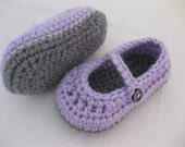 Baby Girl Shoes / Slippers / Booties Purple & Grey Crochet - YOUR choice size newborn - 12 months - photo prop - crochet