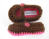 Baby Girl Booties / Shoes / Slippers Pink & Brown Crochet - YOUR choice size newborn - 12 months - photo prop - clothing