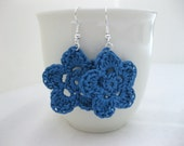 Blue Flower Dangle Earrings - lightweight crochet jewelry - wedding bridesmaid - accessories. Spring. Easter.