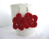 Classic Red Flower Dangle Earrings - lightweight crochet jewelry - wedding bridesmaid - accessories. Spring. Easter.