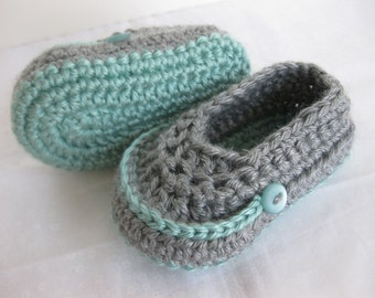 Baby Boy Booties Teal Grey Crochet - YOUR CHOICE size newborn - 12 months - photo prop - crochet