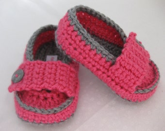 Easter Baby Girl Moccasin Style Pink & Grey Crochet - YOUR choice size newborn - 12 months - photo prop - children