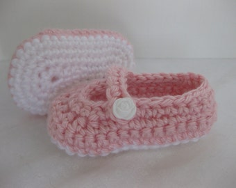 Easter, Baby Girl Shoes, Slippers, Booties, Pink, White, Rose, Crochet, Newborn Photo Prop, Baby Photos, Church Shoes