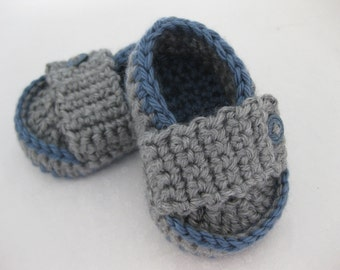 Easter Baby Boy Shoes Grey & Dark Blue Crochet - YOUR CHOICE size newborn - 12 months - photo prop - crochet