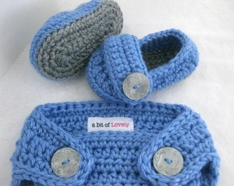 Baby Boy Shoes, Diaper Cover, SET, Grey, Blue, Newborn, Newborn Photos, Photo Prop