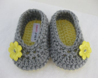 Spring. Baby Girl Shoes / Booties / Slippers Yellow & Grey - YOUR CHOICE size newborn - 12 months - photo prop - clothing