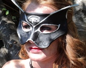 Black and Silver Cat Leather Mask