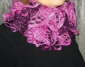 SALE. Pink,  dark pink and  burgundy colors knitting  ruffle scarf.