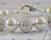 White Pearl Bracelet - Swarovski Pearls and Crystals