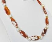 Orange Handmade Beaded Jewelry in Gold Beaded Necklace with White Swarovski Pearls