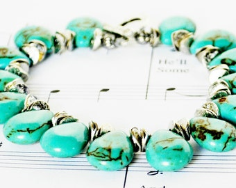 Turquoise Bracelet Agate Handmade Beaded Jewelry with Pewter