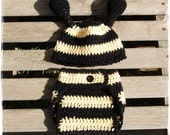 Bumble Bee Diaper Cover and Hat set Photography Prop