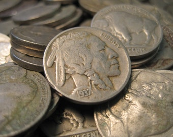 Twenty 1930's Buffalo Nickels - Vintage very nice. Perfect for Collecting and Project Making