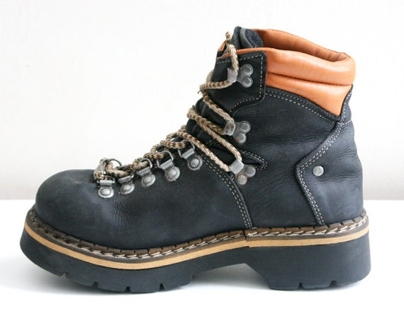 s a l e / / / Super Chunky Black Leather Steel-Toe Dockers Platform Hiking-Style Boots - Size 8.5 / / / s a l e
