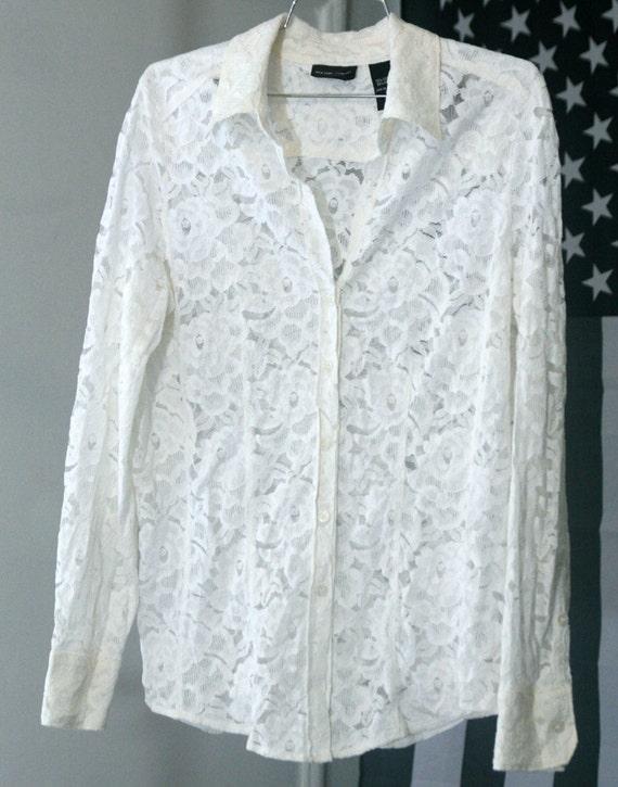 s a l e / / / See-Through 90s Ivory White Lace Button-Up Shirt / / / s a l e