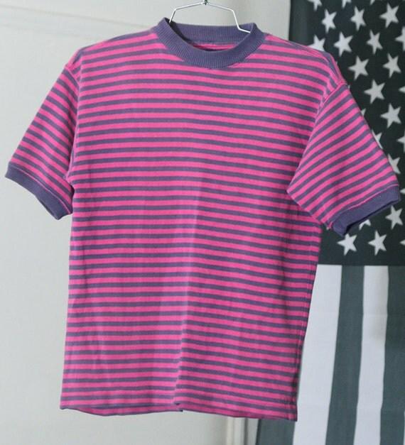 s a l e / / / Striped Fuschia and Purple Textured Ringer Tee / / / s a l e