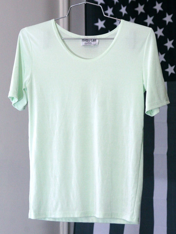Shimmery Mint Green Semi-Sheer Slinky 90s Stretchy T-Shirt