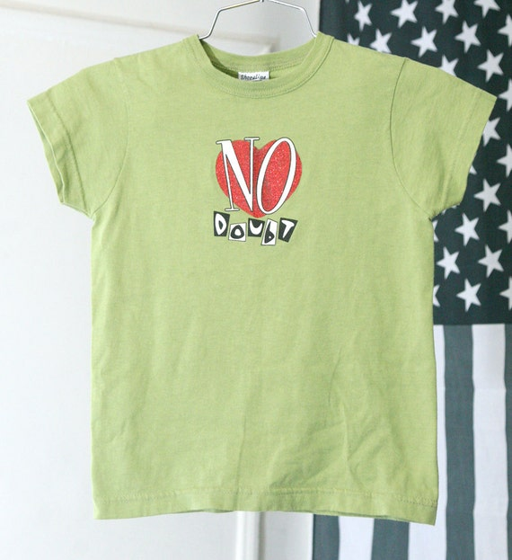90s NO DOUBT Light Green Baby Tee with Glitter Heart Logo