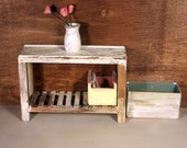 Ooak handmade shabby chic dollhouse miniature table cream one inch scale