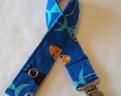 Sharks Fabric Pacifier Clip