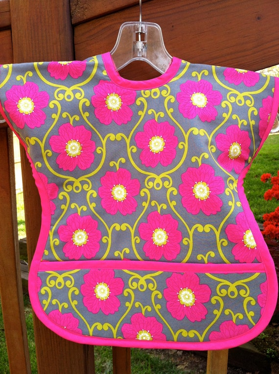Hot Pink Flowers Art Smock Bib Meal Cover Up Size 9 Months to 3T