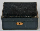 Antique Victorian Era Leather Jewelry Box with Key Lock