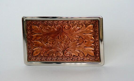 Vintage Hand Tooled Copper Belt Buckle