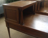 RESERVED Mid Century End Tables - Solid Wood with Drawer - On SALE (Price Reduced)