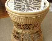 Vintage Rattan Side / End Table Glass Top Geat Detail