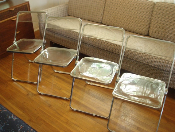 RESERVED Set of 4 Clear Lucite and Chrome Folding Chairs Made