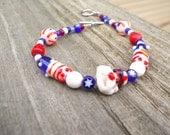 Uncle Sam Red, White, & Blue Patriotic Glass Beaded Bracelet