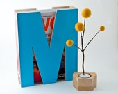 M is for magazine. In turquoise.
